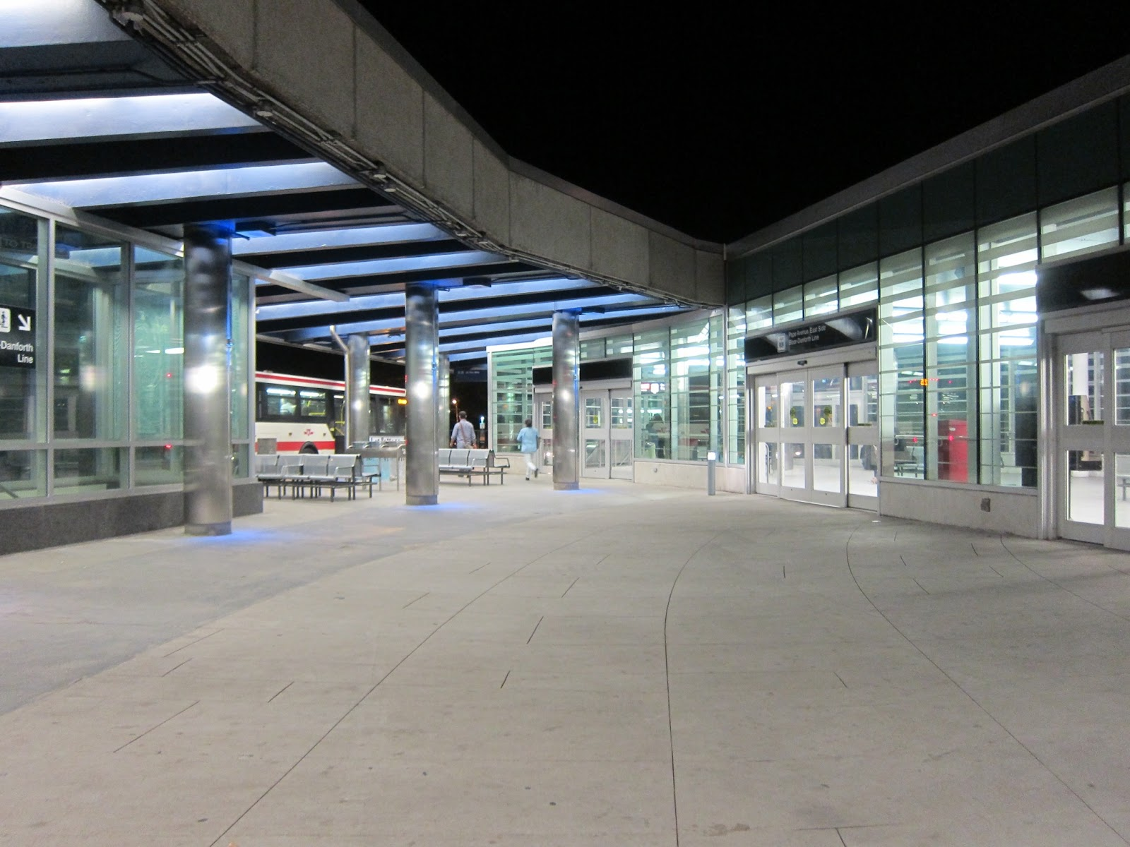 Pape station bus platform