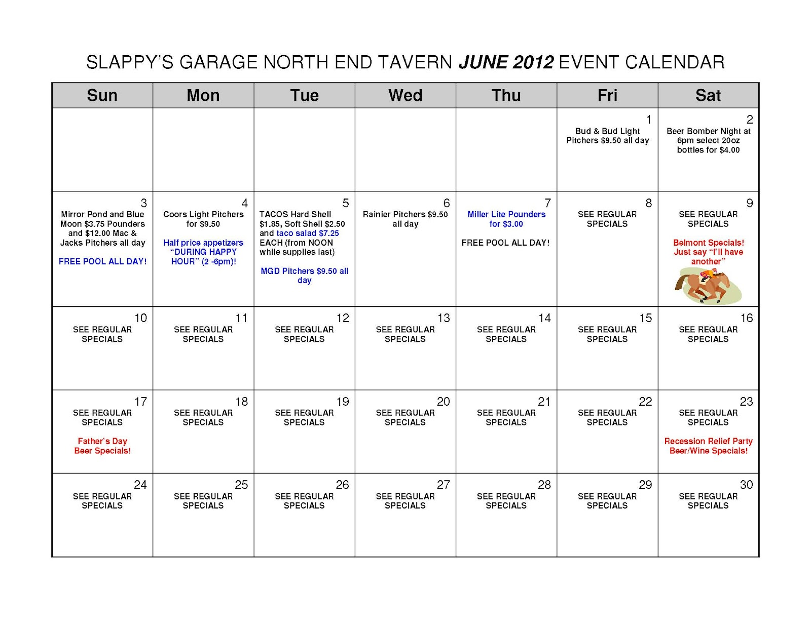 June Calendar Events : Slappy s garage north end tavern june events
