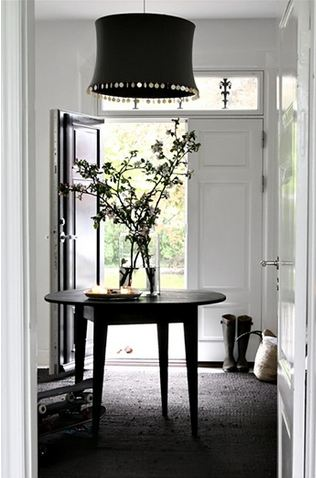 Black and white foyer in a Danish home