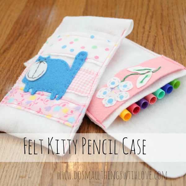 A super pretty little felt kitty pencil case - Are you searching for some DIY Pencil case tutorials for back to school season? This list is full of beautiful patchwork pouches, flat pencil cases, binder pencil cases & even a crochet pencil case! There are some great Pencil case projects in this post.