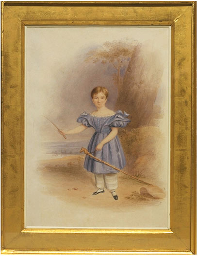 19th c. boy with hobbyhorse and whip