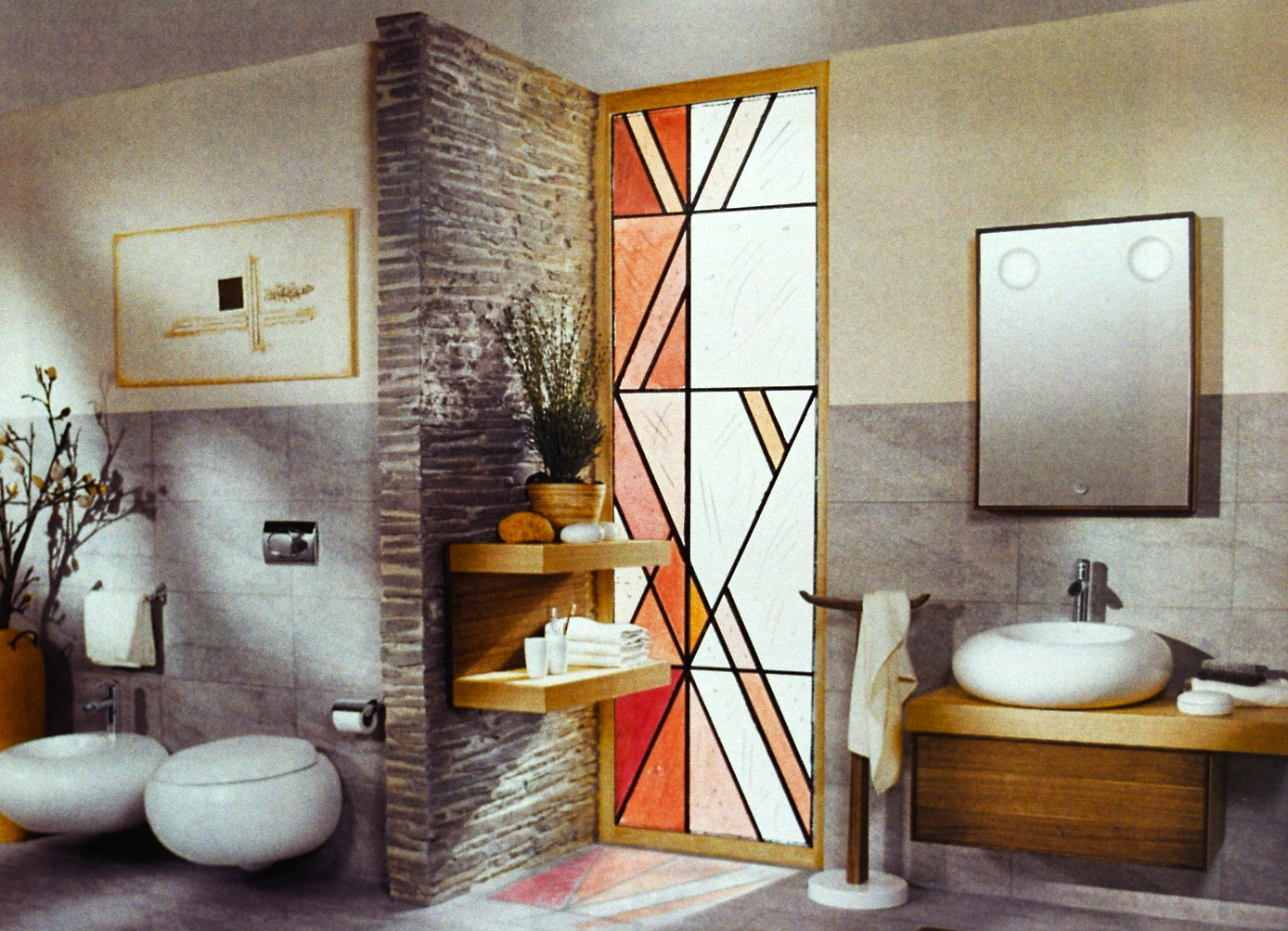 architektur mit glaskunst martin halter bern glaskunst akzente im wellnessbereich badezimmer. Black Bedroom Furniture Sets. Home Design Ideas