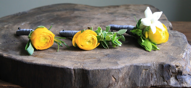Yellow Ranunculus and White Stephanotis Boutonniere - Boutonnieres - Wedding Flowers - Groom - Usher - Best Man - Groomsmen - Ushers - Groom's Boutonniere