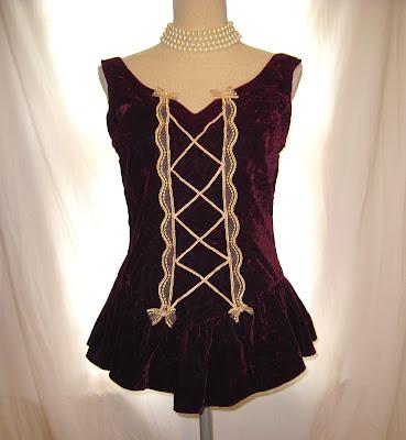 Deep and Dark Red Burgundy Color Whimsical Historical Look of Victorian Women's Velvet Sleeveless Fairy Tale Vest