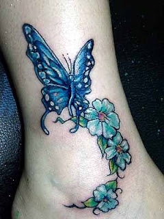Butterfly with Flowers tattoo - Girls Feet Tattoo
