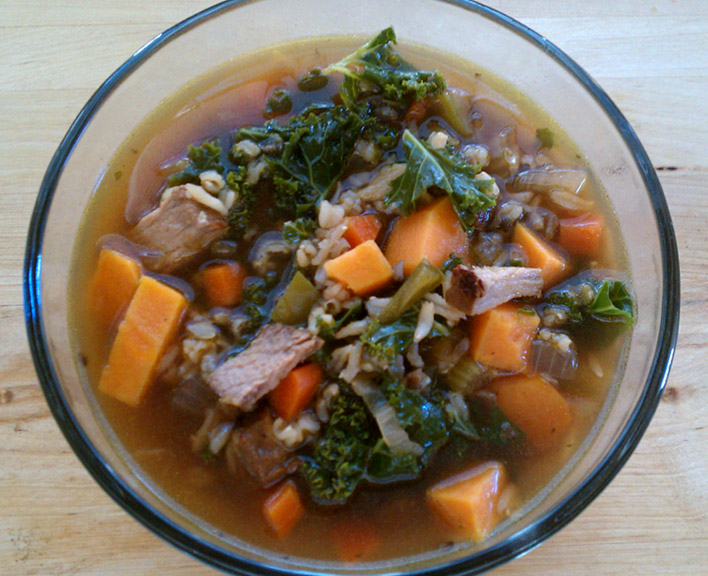 Cheftainment: Grilled Steak & Roasted Sweet Potato & Kale Soup