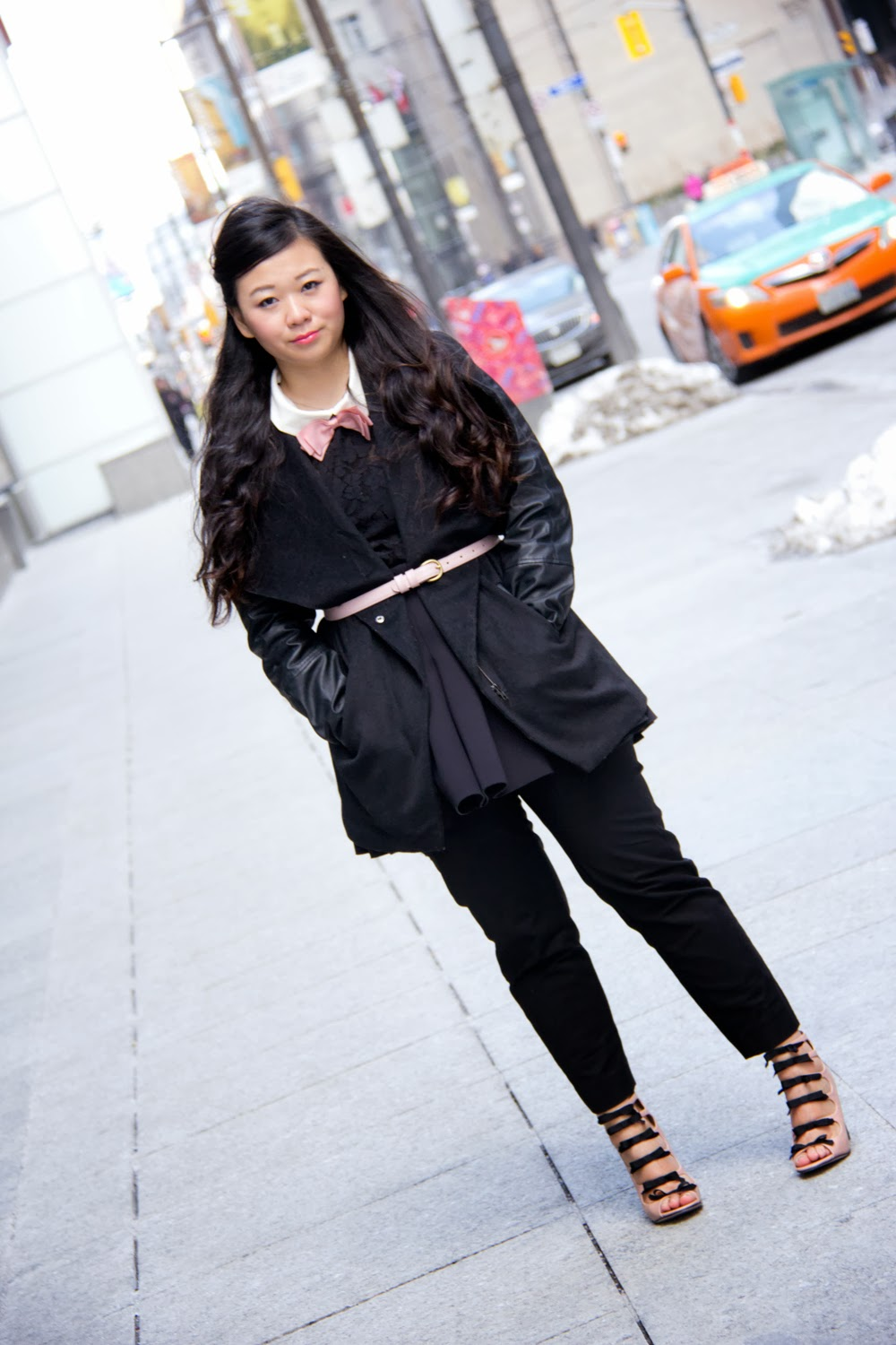 Black-Faux-Leather-Sleeve-Coat, American-Apparel-Pink-Belt, Bow-Tie, TopShop-Pumps