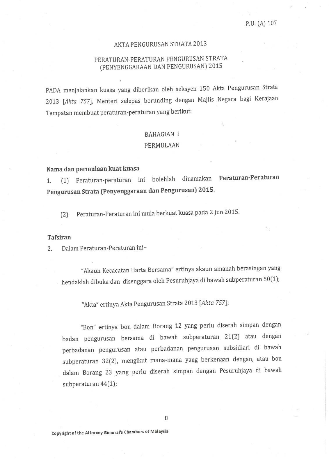 Badan Pengurusan Bersama Jmb Pusat Komersil Seksyen 7 Shah Alam Penetapan Tarikh Kuatkuasa Akta Pengurusan Strata 2013 Akta 757