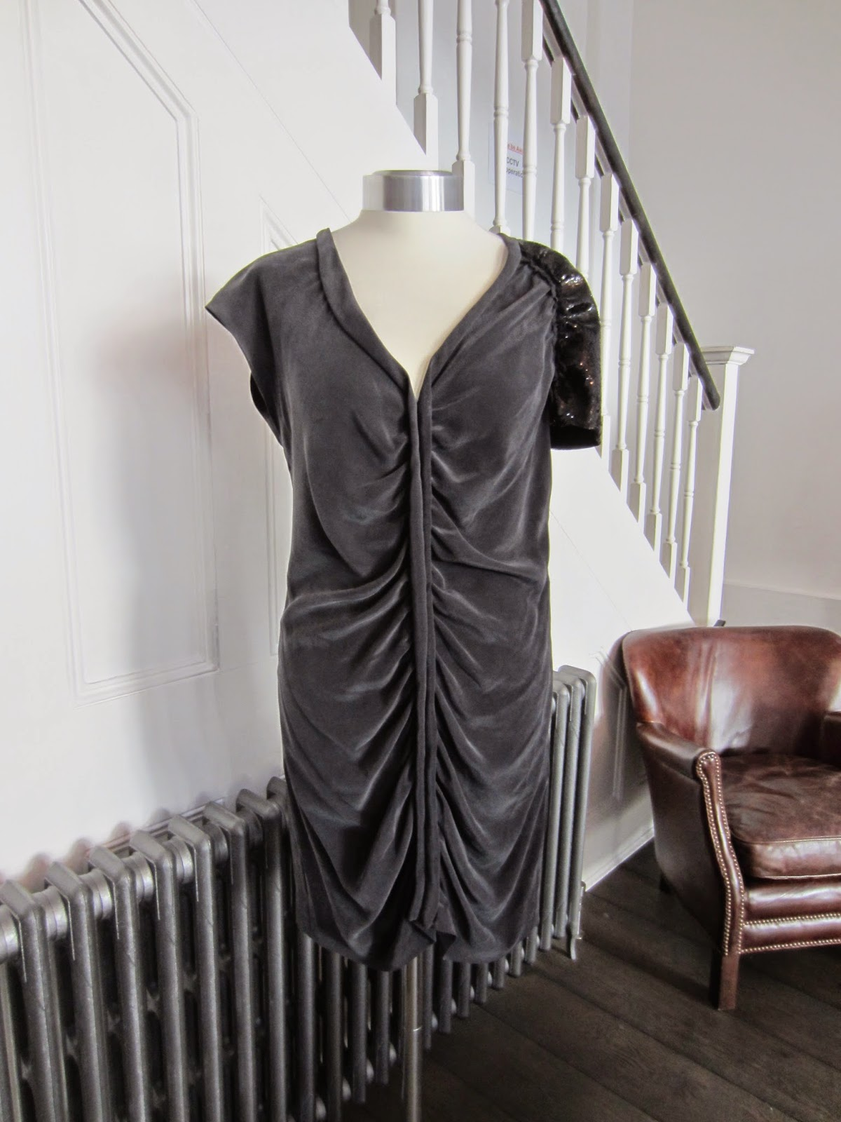 Joseph Black Silk Dress with Sequin Shoulder