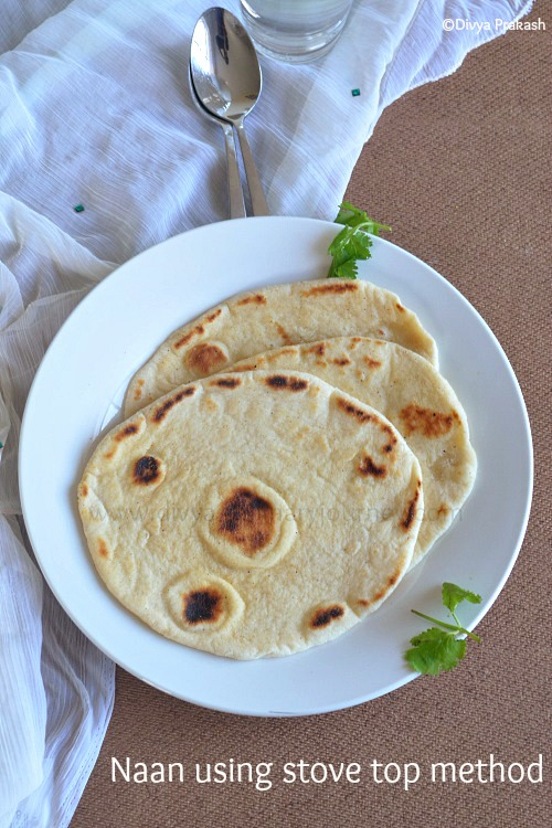 soft naan using yeast, naan on stove top