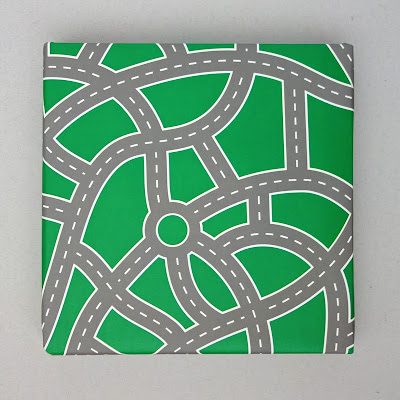 Recycled gift wrap with road layout pattern