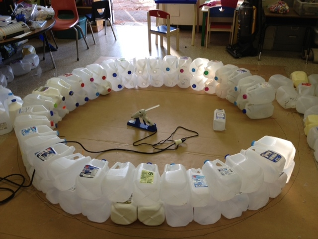 Your permanent record students at brunson elementary make for How to build an igloo out of milk jugs