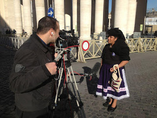 Benedicta Alejo giving a TV interview at the Vatican