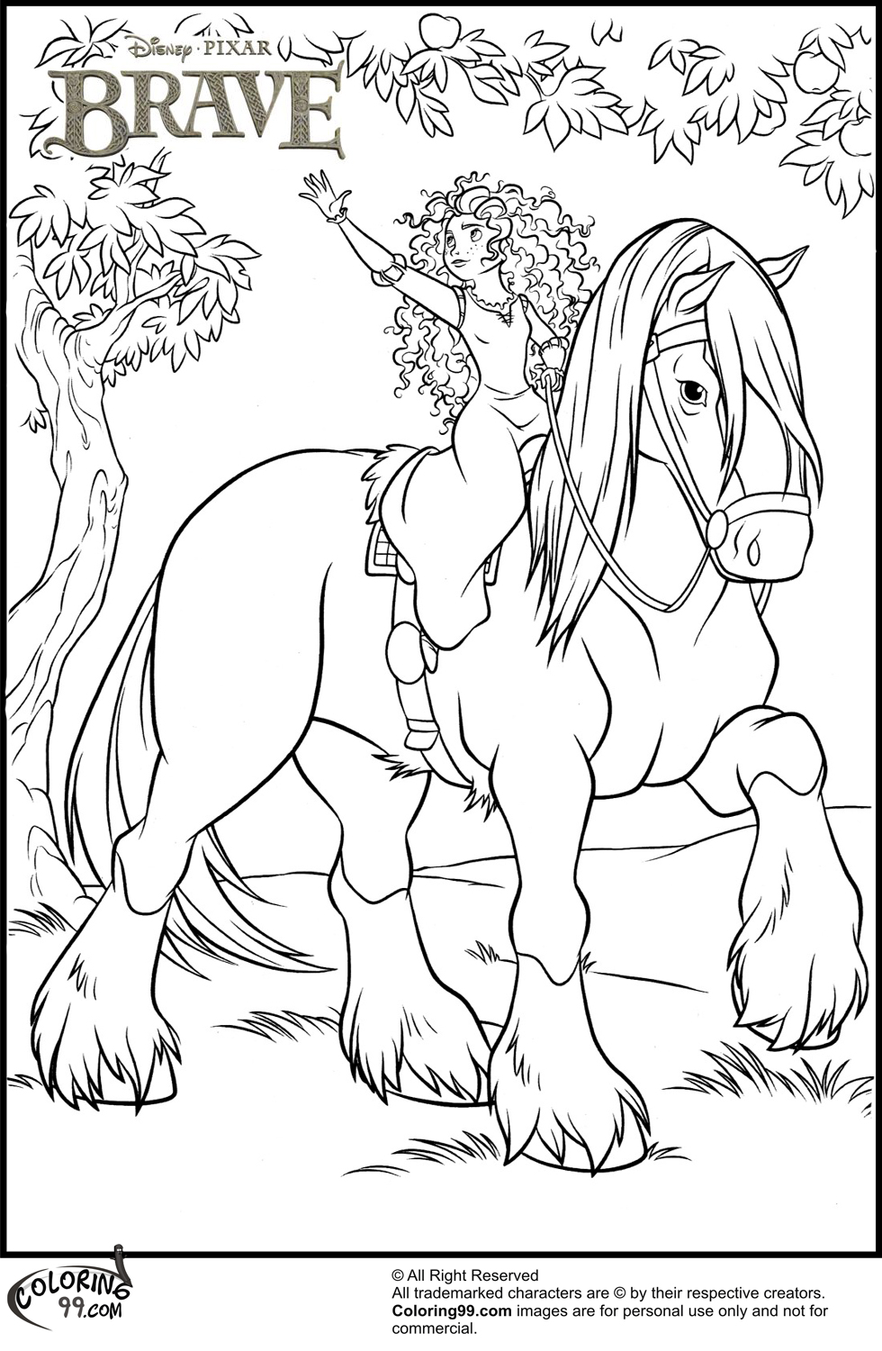 princess horse coloring pages - photo#7