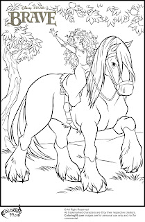 princess merida and her horse angus coloring pages