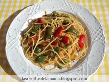 Receta De Espaguetis Con Pimientos