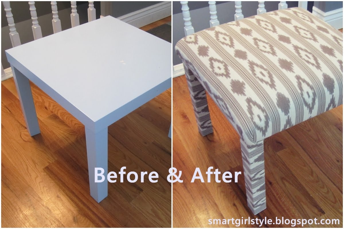 Smartgirlstyle ikea lack table into padded bench - Ikea lack table ...