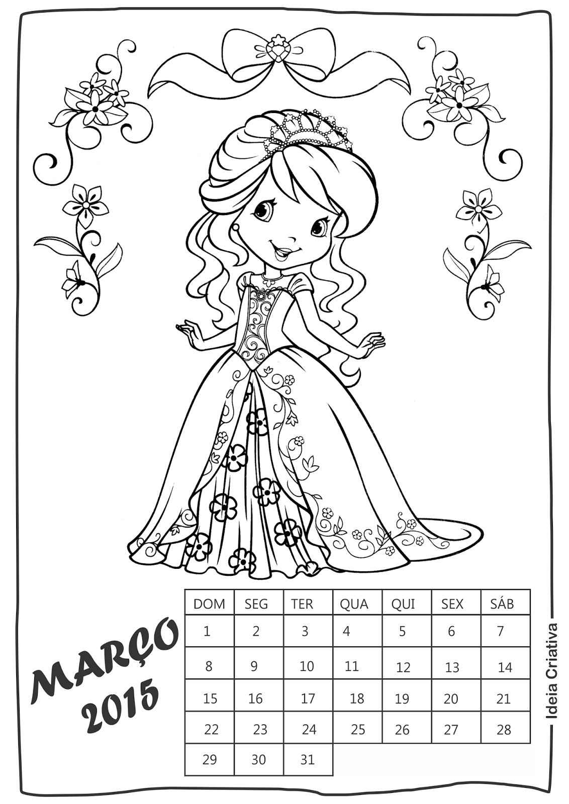 Calendário Março Moranguinho para imprimir e colorir