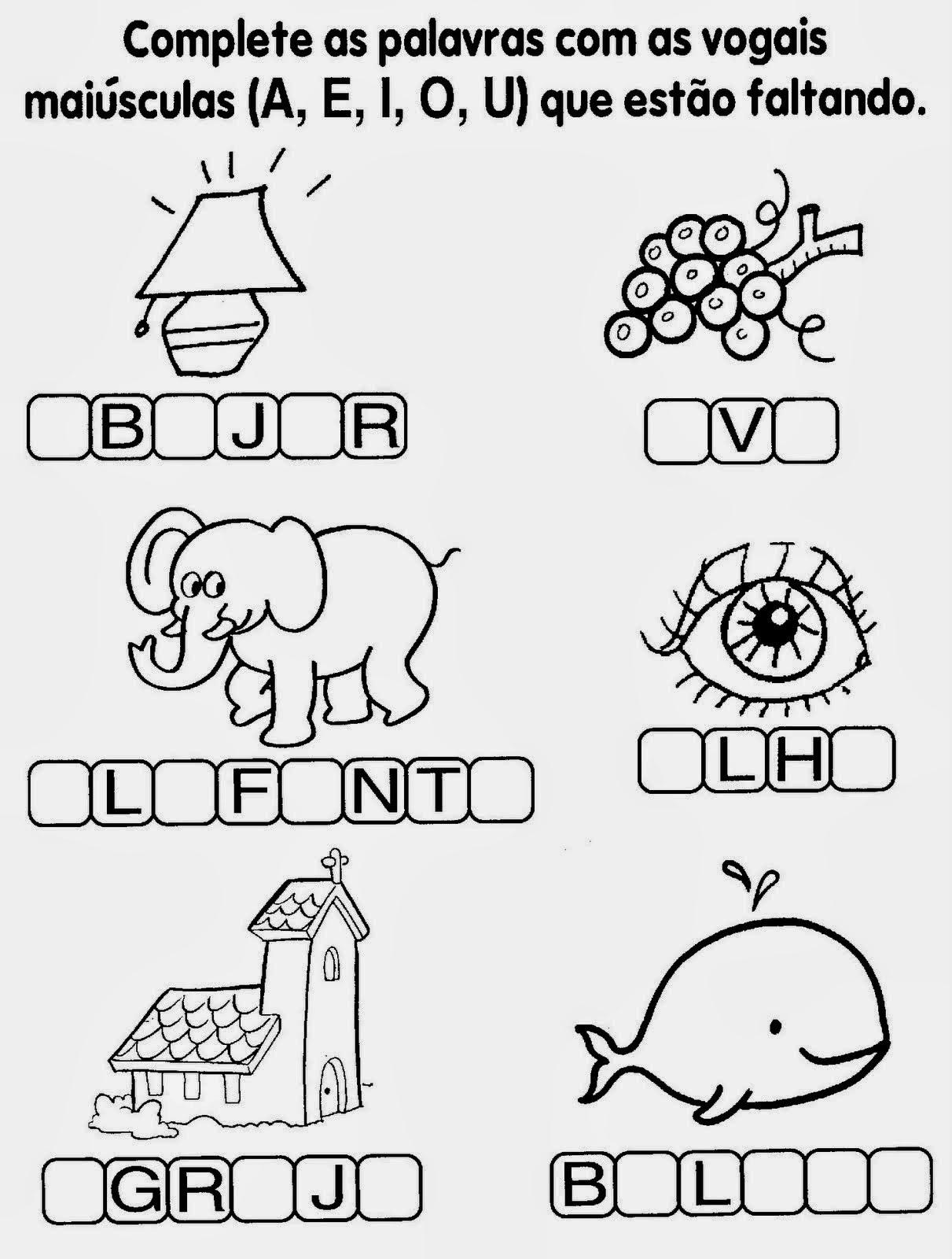 Fabuloso Escola Saber: Atividades de alfabetização 1 ano vogais CG23