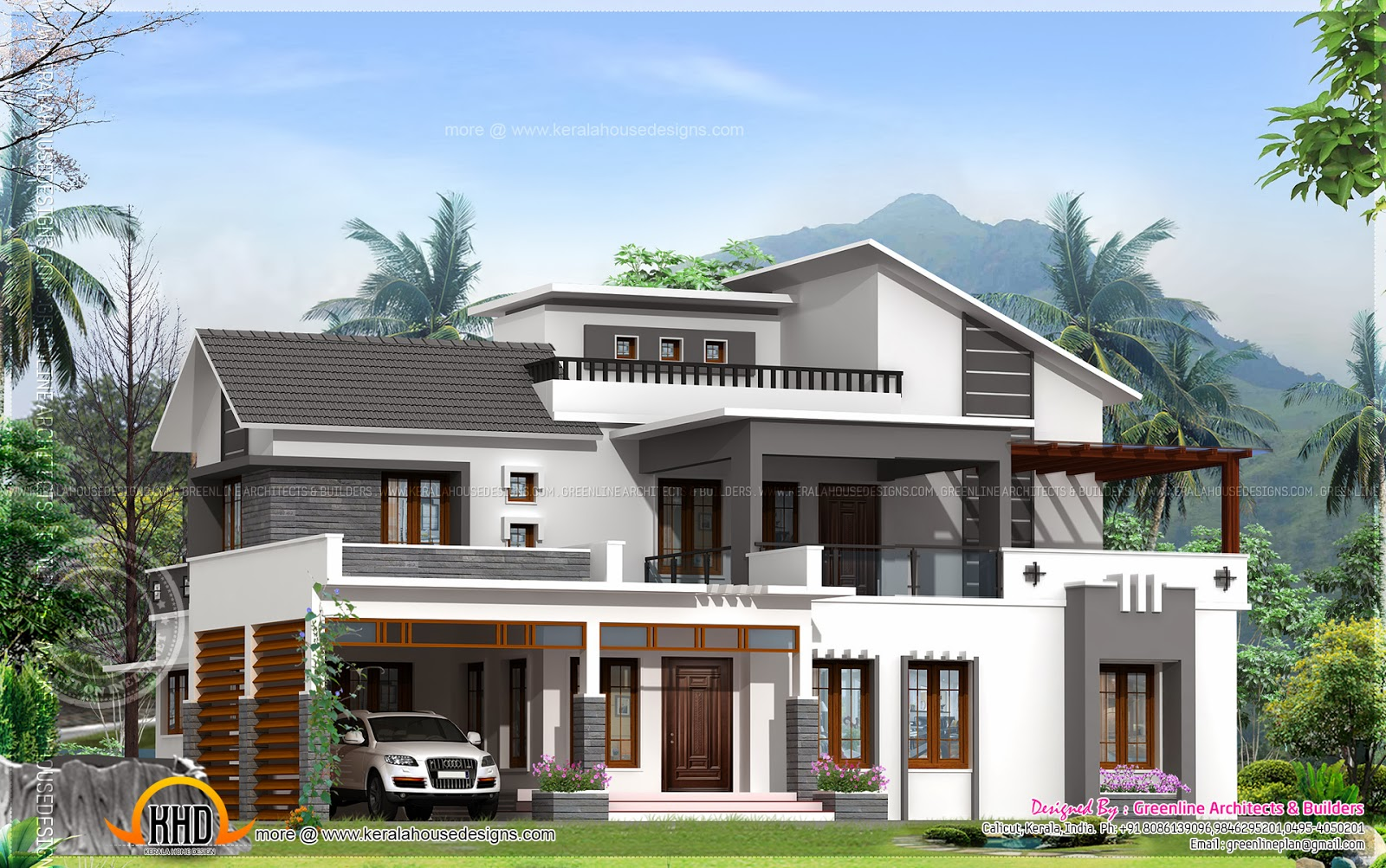 Modern home elevation design kerala home design and for Elevation of kerala homes