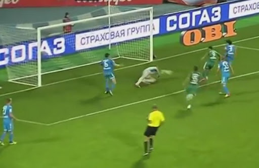 Terek Grozny forward Aílton scores the opening goal against Zenit St Petersburg