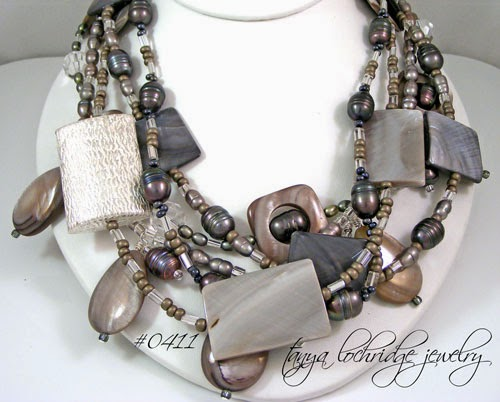 Gray Mother-of-Pearl & Pearl Sterling Silver Necklace