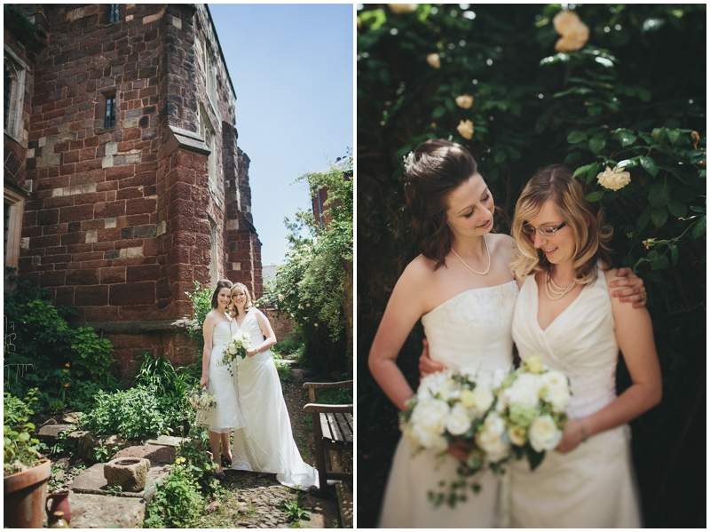 Bride and bride pose outside Benedictine Priory