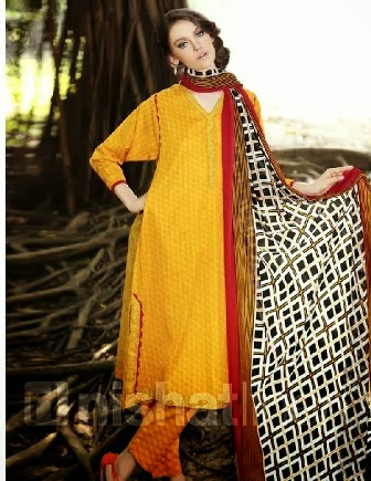 Simple Yellow Chiffon Dress by Nishat Linen