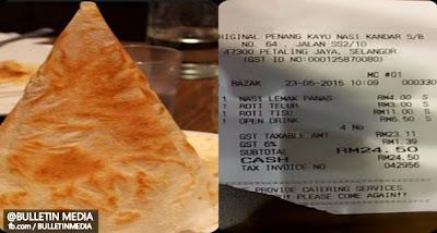 Cekik Darah! Selepas Kes Bendi, Roti Tisu Pula Dicaj RM11
