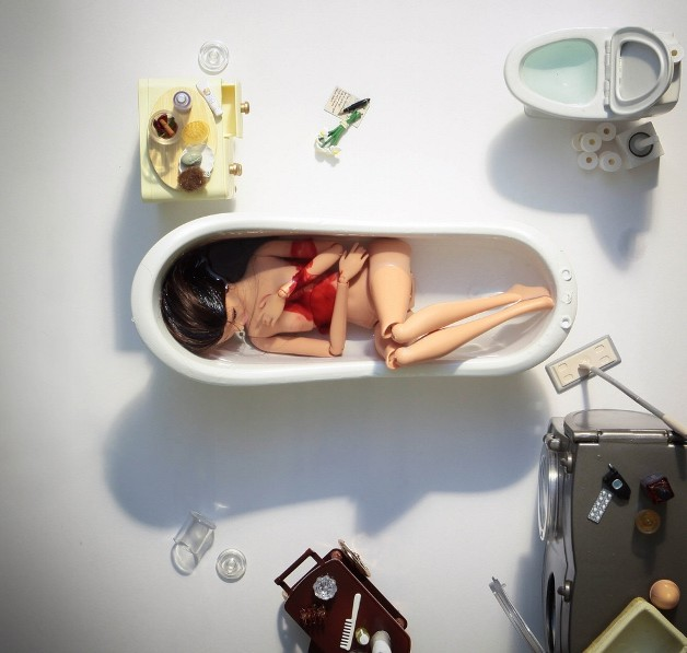barbie inside bath, dead