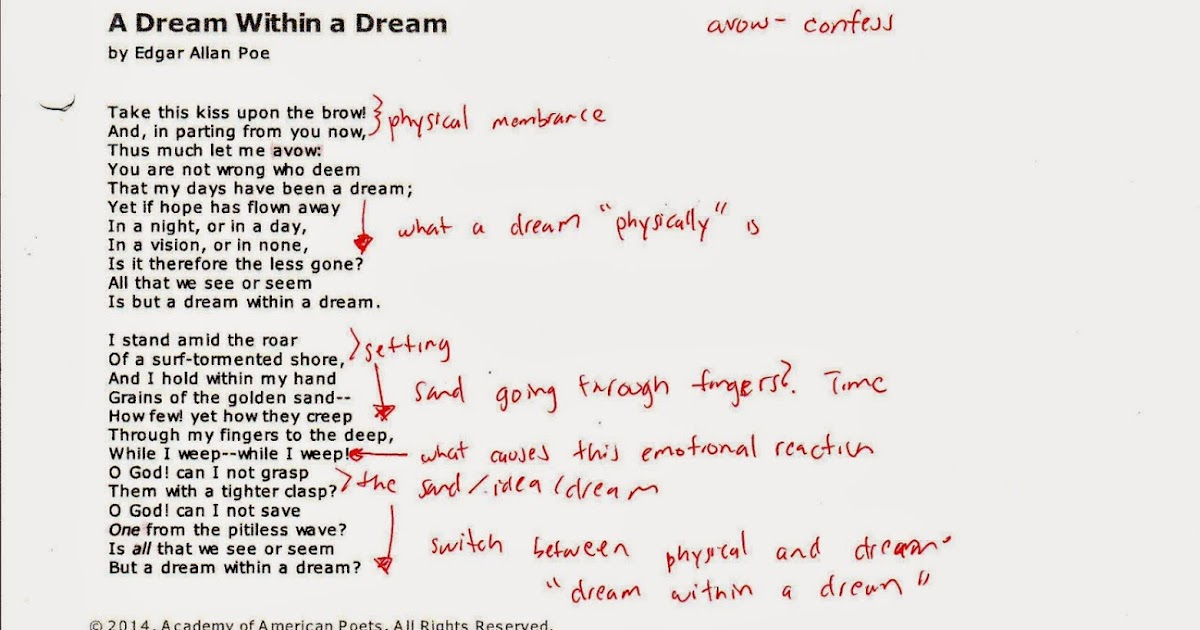 a dream within a dream analysis Results 1 - 20 of 15813  poem: a dream within a dream author: edgar allan poe students will investigate the meaning of the poem by answering two pages of.