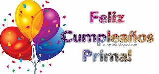 tarjeta de cumpleaños con globos para una prima