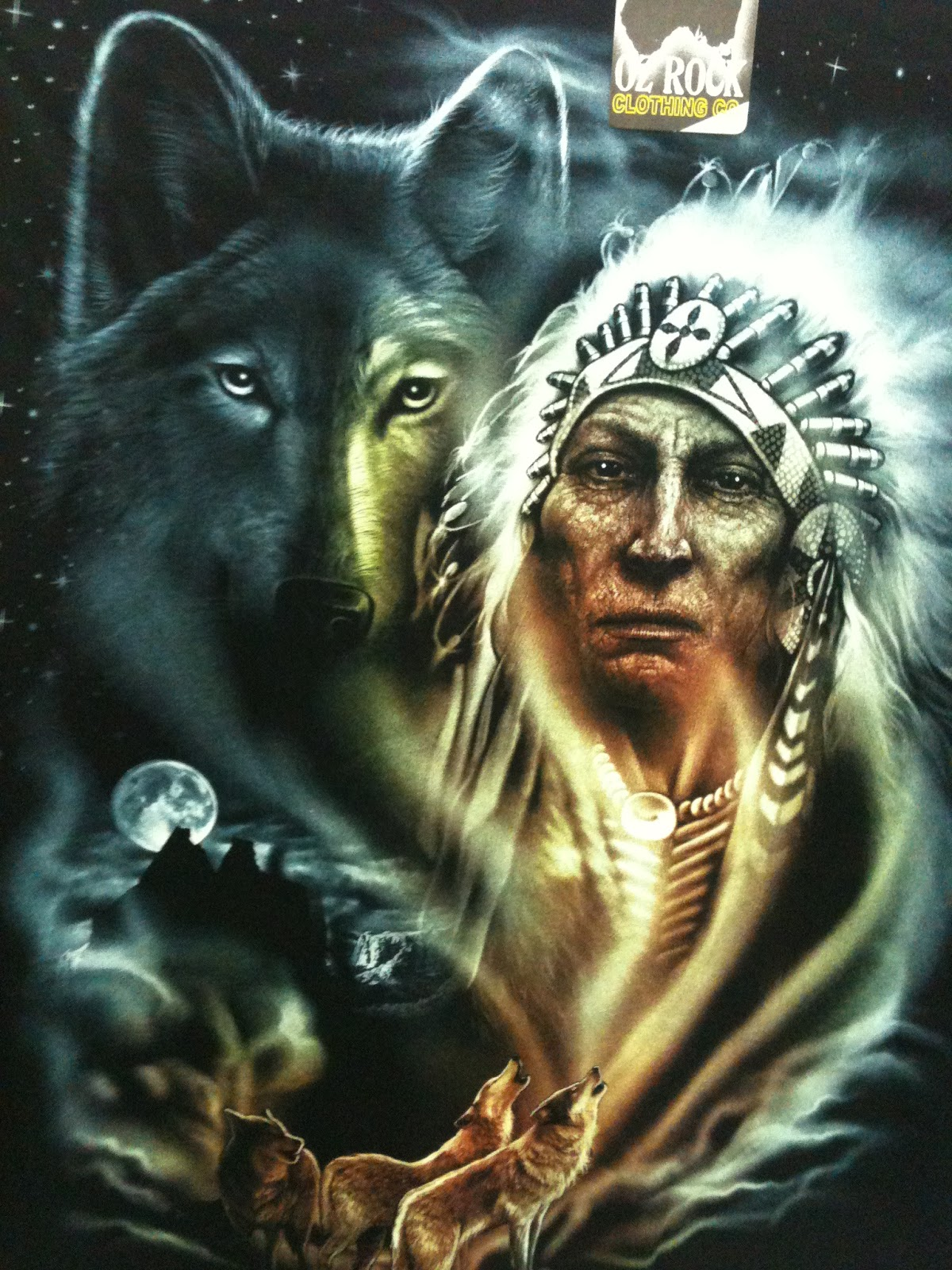 indian chief and wolf - photo #19