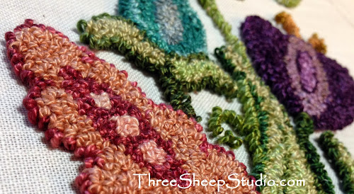 Punch Needle Embroidery by Rose Clay at www.ThreeSheepStudio.com