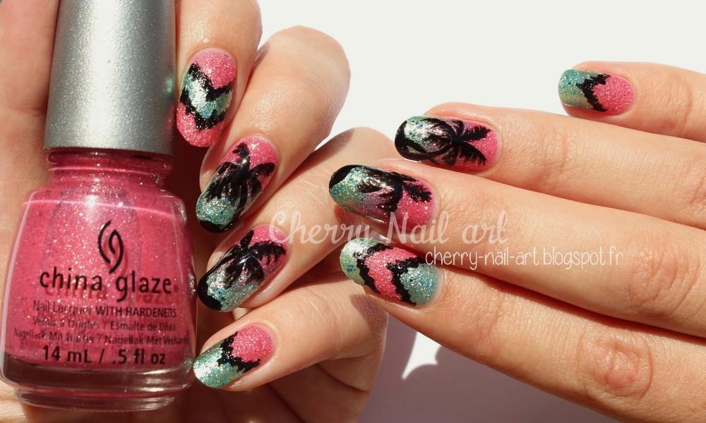 nail art palmier et chevrons facile pour l'été au vernis