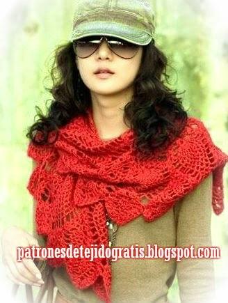 Chal triangular con base redonda crochet patrones