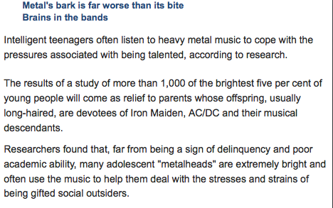 the psychology of heavy metal music essay One grim day (when youth is over) you find that new music gets on your nerves  but why do our musical tastes freeze over.