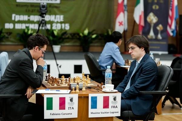 Échecs : Maxime Vachier-Lagrave 0-1 Fabiano Caruana dans la ronde 4 - Photo © Kirill Merkurev