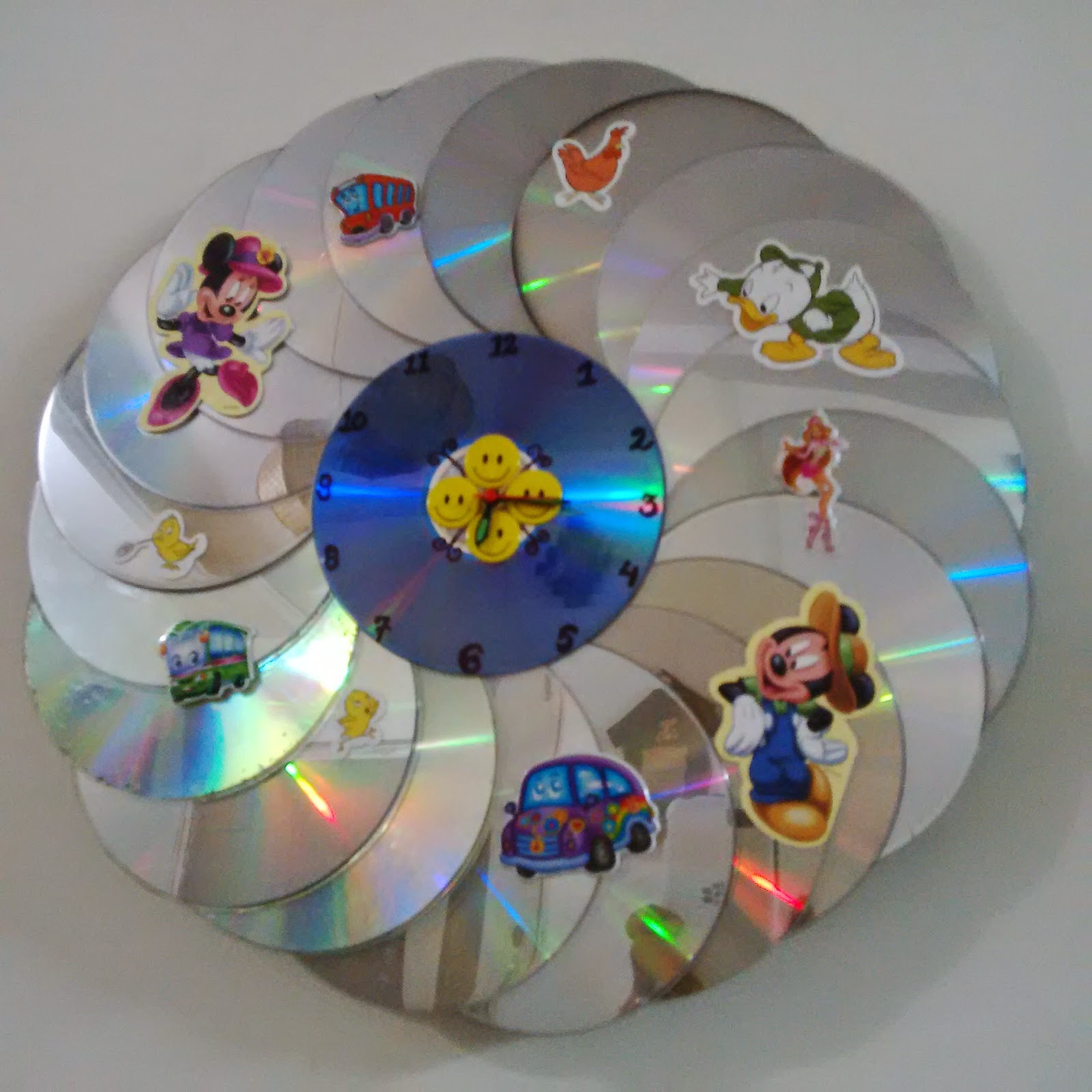 Handmade craft works small and pretty ones cd clock for Waste material craft works