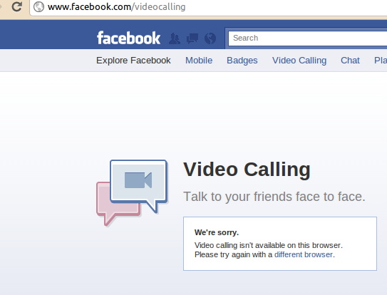 Facebook Video Calling Not Supported On Linux and Chromium ~ Mohit's