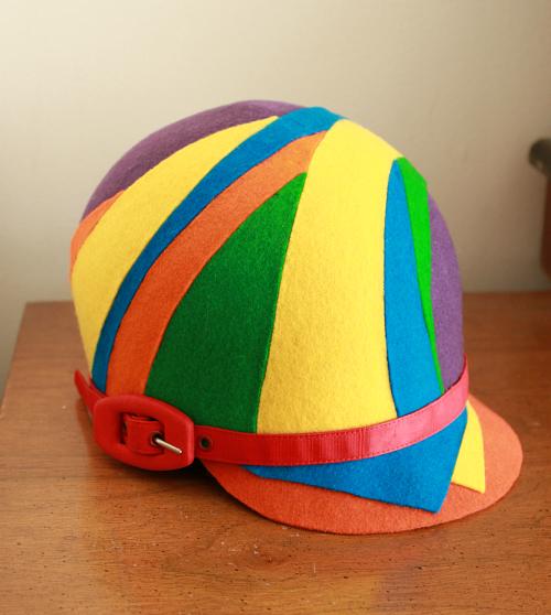 Mod sixties felt helmet hat