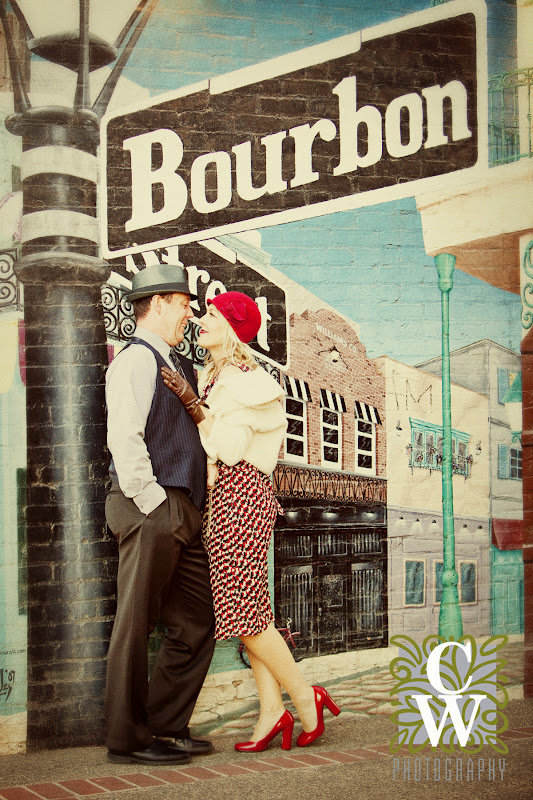 engagement portrait vintage downtown fullerton