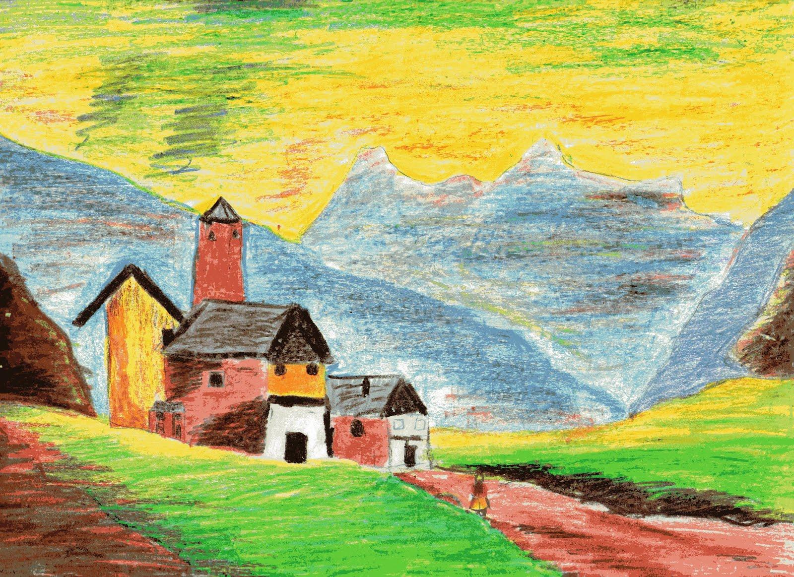 Disegnando e oltre iv elementare for Disegni di paesaggi colorati