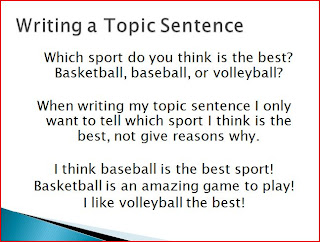 how to write a topic sentence 2nd grade