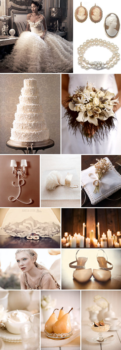Planning a winter white cream wedding This inspiration board comes to you