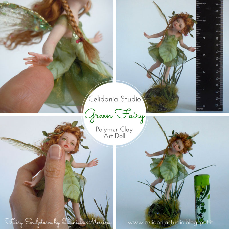 Green Fairy - OOAK Modellata in Pasta Sintetica by Celidonia - Daniela Messina