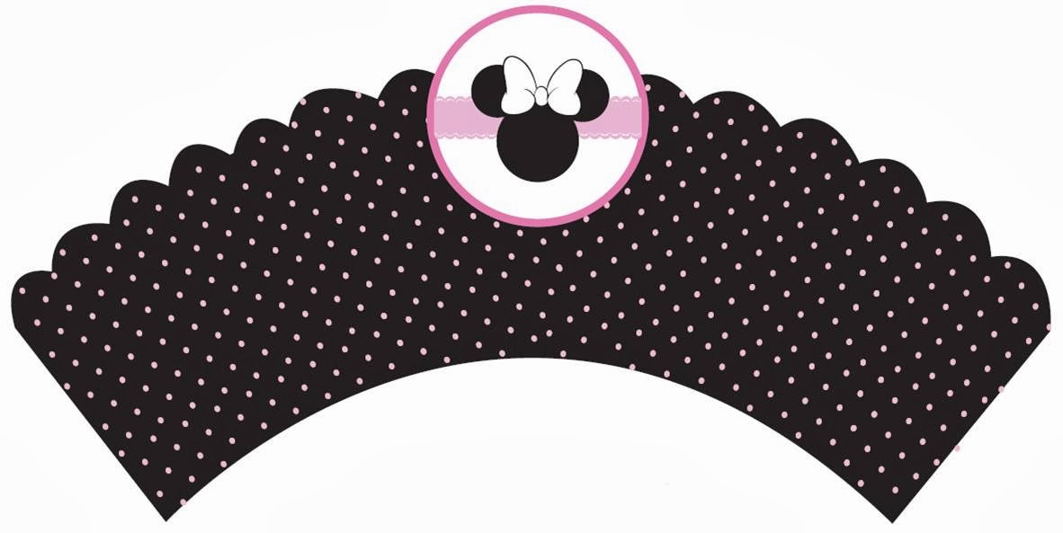 Free Printable Minnie Cupcake Wrappers in Black.