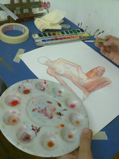 acuarela de desnudo a partir de una foto en proceso