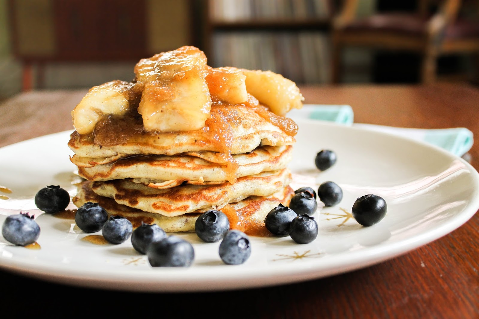 The Quixotic Table: Blueberry Flax Pancakes with Caramelized Bananas