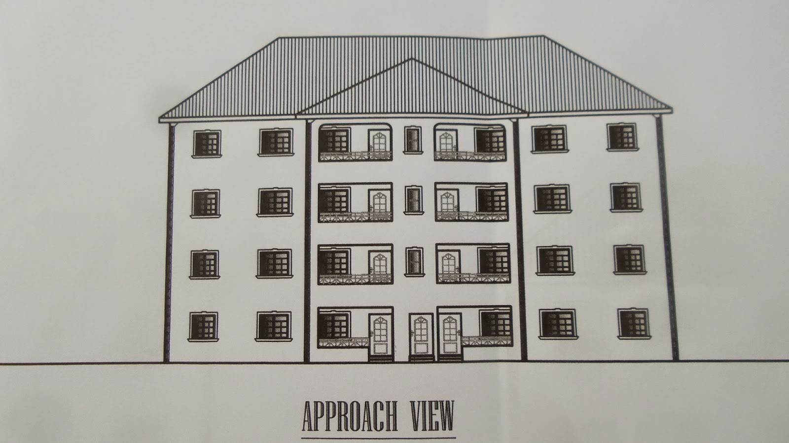 This is a building plan for 8 flats of 3 bedrooms